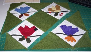 """Assembling the three """"rows"""" of the quilt"""